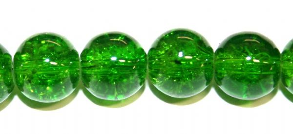 106pcs x 8mm Dark green glass crackled beads -- 3005024